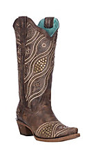 Corral Women's Honey Brown Wave Embroidery and Studs Western Snip Toe Boots