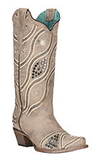 Corral Women's Taupe Wave Embroidery and Studs Western Snip Toe Boots