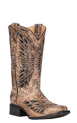 Corral Youth Golden Butterfly Inlay Western Square Toe Boot
