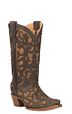 Corral Youth Brown w/ Full Overlay Western Snip Toe Boots