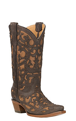 Corral Youth Brown with Full Overlay Western Snip Toe Boots