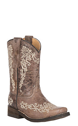 Corral Kids Distressed Brown with Beige Embroidery Square Toe Toe Boots