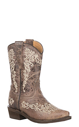 Corral Kids Distressed Brown with Beige Embroidery Snip Toe Toe Boots
