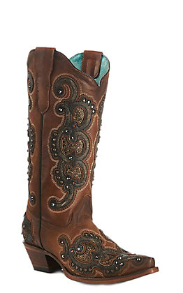 Corral Women's Honey Overlay Studs Snip Toe Boot