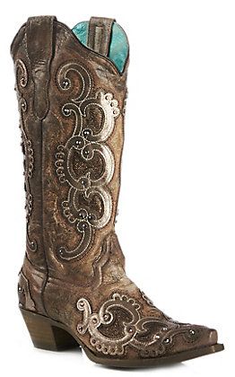 Corral Women's Brown and Tan Overlay Embroidered Snip Toe Boot