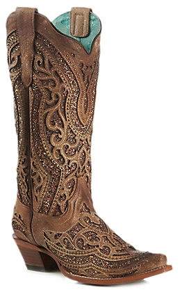 Corral Women's Tan and Golden Glitter Inlay Snip Toe Western Boot