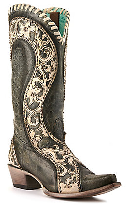 Corral Women's Black with Cream Floral Overlay and Studs Snip Toe Western Boots