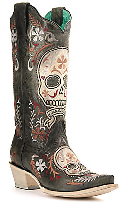 Corral Women's Distressed Black with Skull Overlay and Embroidery Studded Snip Toe Western Boots