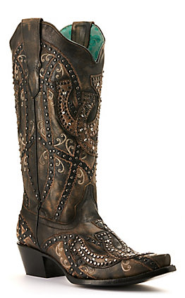 Corral Women's Distressed Black Horseshoes and Studs Snip Toe Western Boot