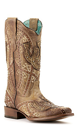 Corral Women's Saddle Tan Brown Horseshoes and Studs Square Toe Western Boot
