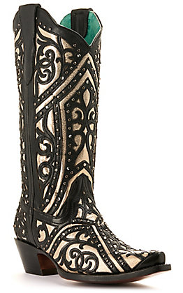 Corral Women's Black with Gold Inlay and Studs Snip Toe Western Boots