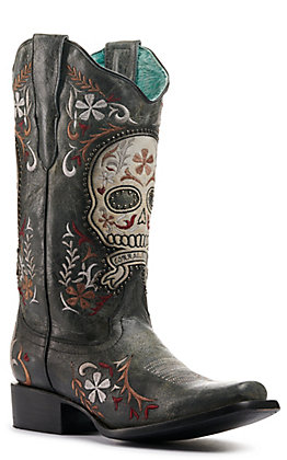 Corral Women's Distressed Black with Skull Overlay and Embroidery Studded Square Toe Western Boots
