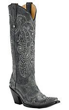 Corral Ladies Black / Gray w/ Wingtip & Studs Snip Toe Western Boots