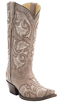 Corral Women's Bone Tan with Floral Fancy Stitch Snip Toe Western Boots