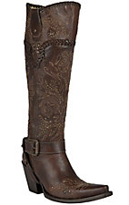 Corral Women's Brown Whipstitch & Studs Tall Top Snip Toe Western Boots