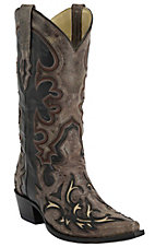 Corral Men's Vintage Black with Distressed Taupe Overlay & Cream Inlay Snip Toe Western Boots