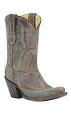 Corral Ladies Distressed Brown w/Turquoise Fancy Stitch Punchy Snip Toe Western Boots