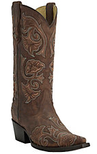 Corral Women's Distressed Chocolate Embroidered Snip Toe Western Boots