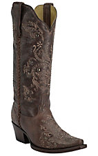 Corral Boot Company Women's Vintage Brown with Tan Embroidery & Studs Snip Toe Western Boots