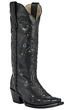 Corral Boot Company Women's Black with Floral Scroll Embroidery & Studs Snip Toe Western Boots
