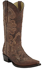 Corral Men's Distressed Nude with Tuscan Overlay & Tabacco Inlay Snip Toe Western Boots