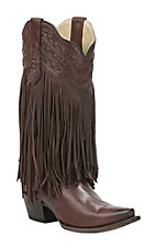 Corral Boot Company Women's Chocolate with Fringe Whipstitch Snip Toe Western Boots