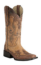 Corral Women's Antique Saddle Tan with Cognac Overlay & Studs Square Toe Double Welt Western Boots
