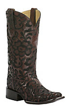 Corral Women's Chocolate with Black Floral Embroidery Double Welt Square Toe Western Boots