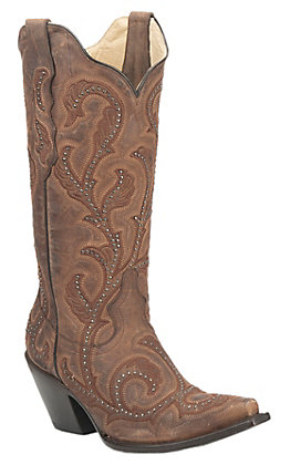 Corral Boot Company Women's Brown with Brown Embroidery and Silver Studs Western Snip Toe Boots