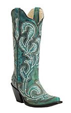 Corral Women's Distressed Turquoise with Silver Studs and Embroidery Snip Toe Western Fashion Boots
