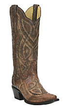 Corral Antique Saddle With Black Embroidery Western Snip Toe Boots