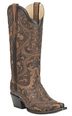Corral Boot Company Women's Brown with Chocolate Overlay and Bronze Studs Western Snip Toe Boots