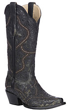 Corral Women's Black Full Overlay and Studs Western Snip Toe Boots