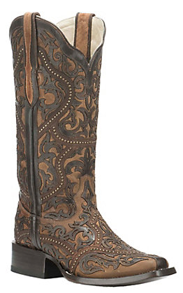 Corral Women's Brown with Dark Brown Ornate Print and Stud Details Western Square Toe Boots