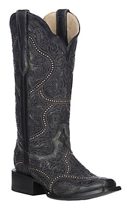 Corral Women's Black Full Overlay and Studs Square Toe Western Boots