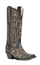 Corral Boot Company Women's Black Floral Embossed Western Snip Toe Boots