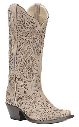 Corral Women's Taupe with Floral Overlay Snip Toe Western Boot
