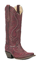 Corral Boot Company Women's Red with Floral Overlay and Studded Details Western Snip Toe Boots