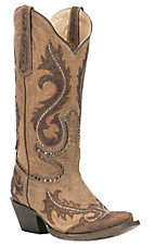 Corral Boot Company Women's Brown with Dark Brown Overlay and Studded Details Western Snip Toe Boots