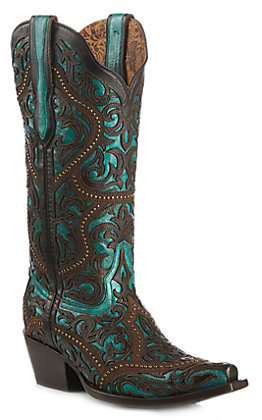 Corral Women's Brown Full Overlay and Studs Western Snip Toe Boots