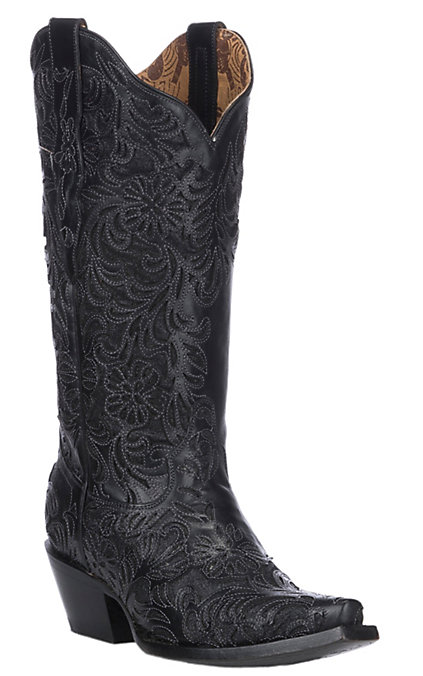 meet search for authentic clients first Corral Women's Black with Full Inlay Snip Toe Western Boots