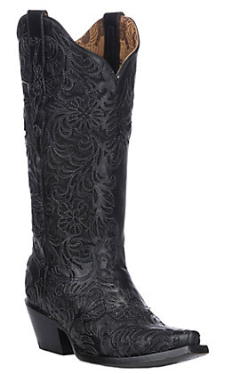 Corral Women's Black with Full Inlay Snip Toe Western Boots
