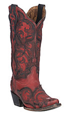 Corral Women's Red w/ Burnished Black Overlay Western Snip Toe Boots