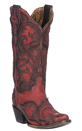 Corral Women's Red with Burnished Black Overlay Western Snip Toe Boots