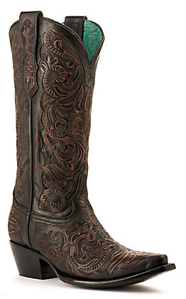 Corral Women's Dark Brown Hand Tooled Snip Toe Western Boots