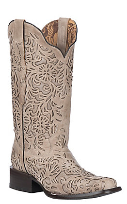 Corral Women's Bone with Full Inlay Western Square Toe Boots