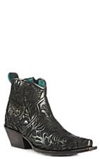 Corral Women's Black Full Floral Inlay Snip Toe Bootie