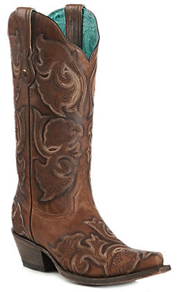 Corral Women's Whiskey Brown Embroidered Western Snip Toe Boots