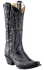 Corral Ladies Black Tall Fancy Stitch Snip Toe Western Boot