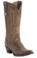 Corral Ladies Cognac Brown Tall Top Fancy Stitch Snip Toe Western Boots